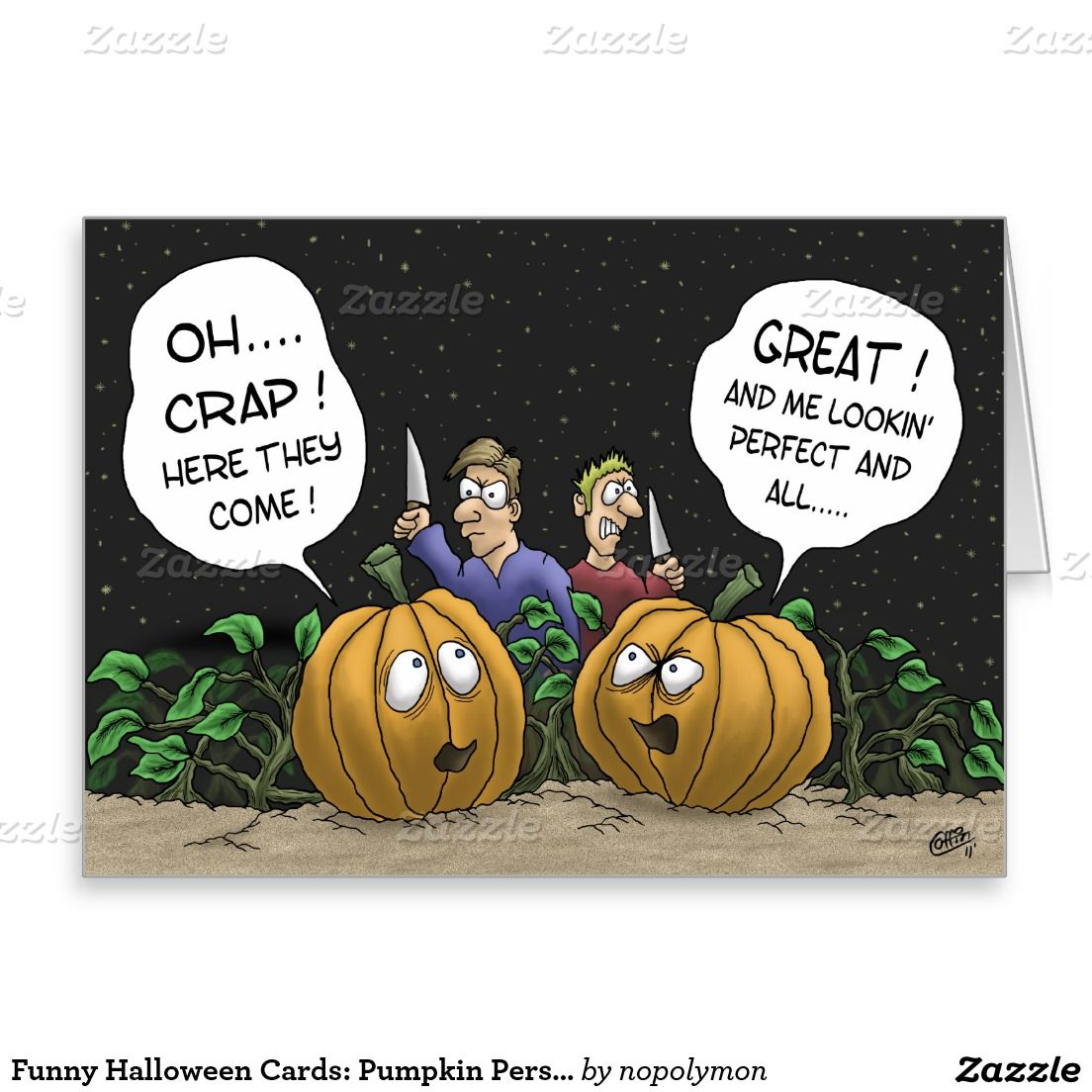 Funny Halloween Cards: Pumpkin Perspective Greeting Card | Funny ...