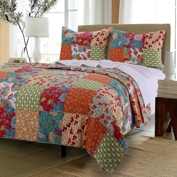 Vintage Country Floral Patchwork Orange Red Cotton Quilt Shams Set ... : country duvet covers quilts - Adamdwight.com