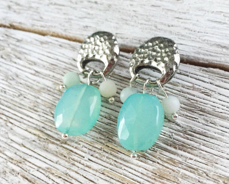 Aqua Chalcedony earrings with Amazonite Kellyfish Jewelry
