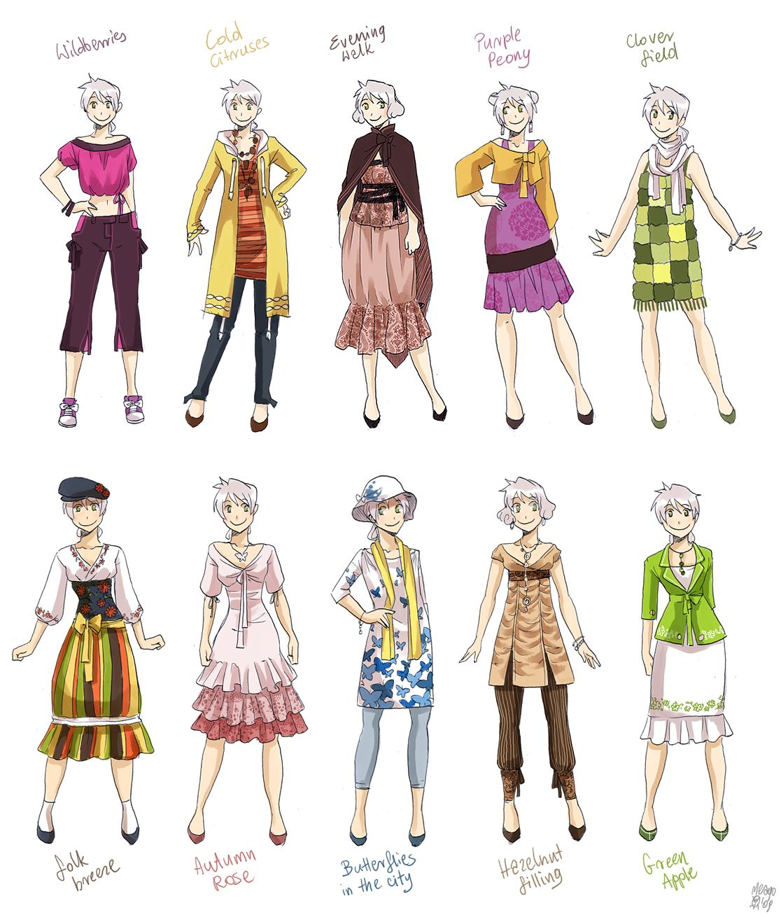 Various Female Clothes 4 By Meago On Deviantart Art Clothes Anime Outfits Clothes For Women