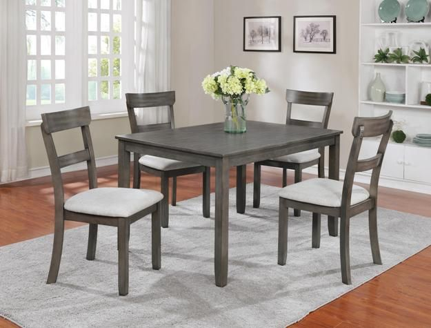 Henderson Driftwood Grey 5 Piece Dinette $399.00 Table 48  x 36  x 30  H Chair 18  x 17.5  x 37  H Driftwood Grey C/M 2254Set-GY & Henderson Driftwood Grey 5 Piece Dinette $399.00 Table 48