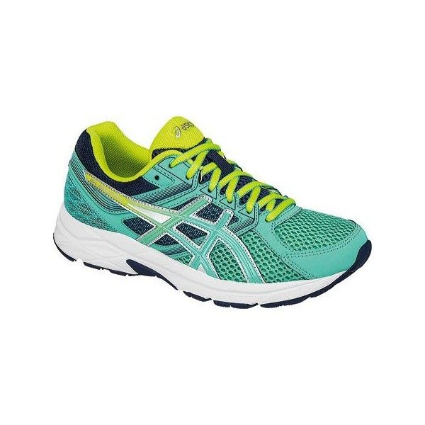 Women's ASICS GEL-Contend 3 Running Shoe - Cockatoo/Neon Lime/Dark... ($65) ❤ liked on Polyvore featuring shoes, athletic shoes, asics shoes, neon running shoes, asics footwear and athletic footwear