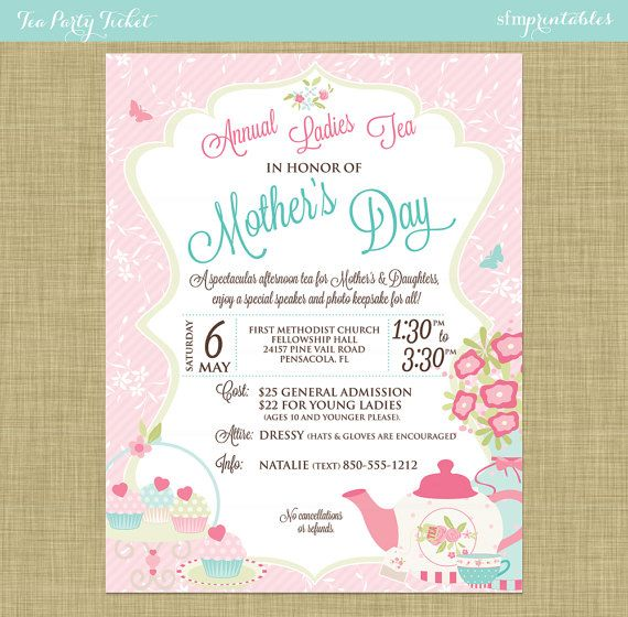 Mothers Day Brunch V2 Flyer Template: Tea Party Social Event Ticket Template Church School