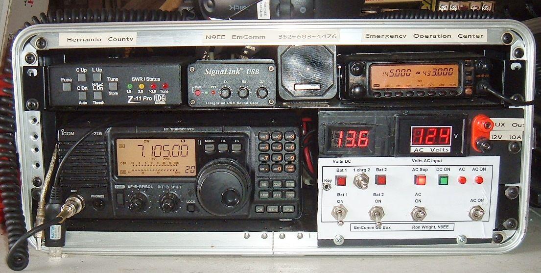 N9EE go box with IC718, Z11Pro tuner, FT8100 VHF/UHF rig, SignaLink