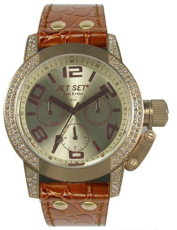 Jet Set Womens San Remo Dame Stainless Watch - Black Leather Strap - Gold Dial - Jetj3068s-736