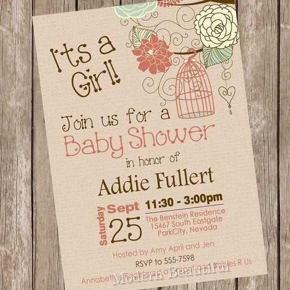 Rustic bird cage baby shower invitation fall baby shower invitation