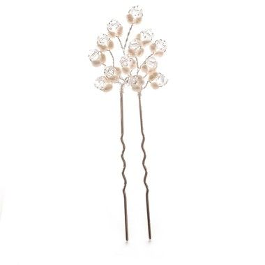 Dainty graceful & just perfect for a modern or vintage wedding day. These freshwater pearl & clear crystal bridal hairpins are sold as a set of 3 by Aye Do weddings