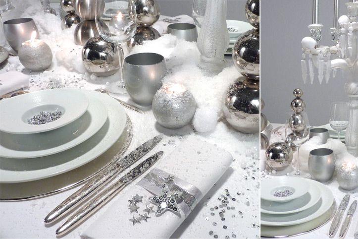 table de noel blanc et argent | giynet