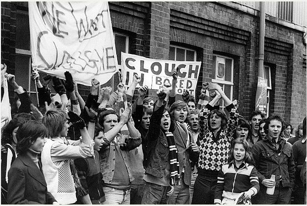 Derby fans protest against the resignation of Brian Clough and Peter Taylor