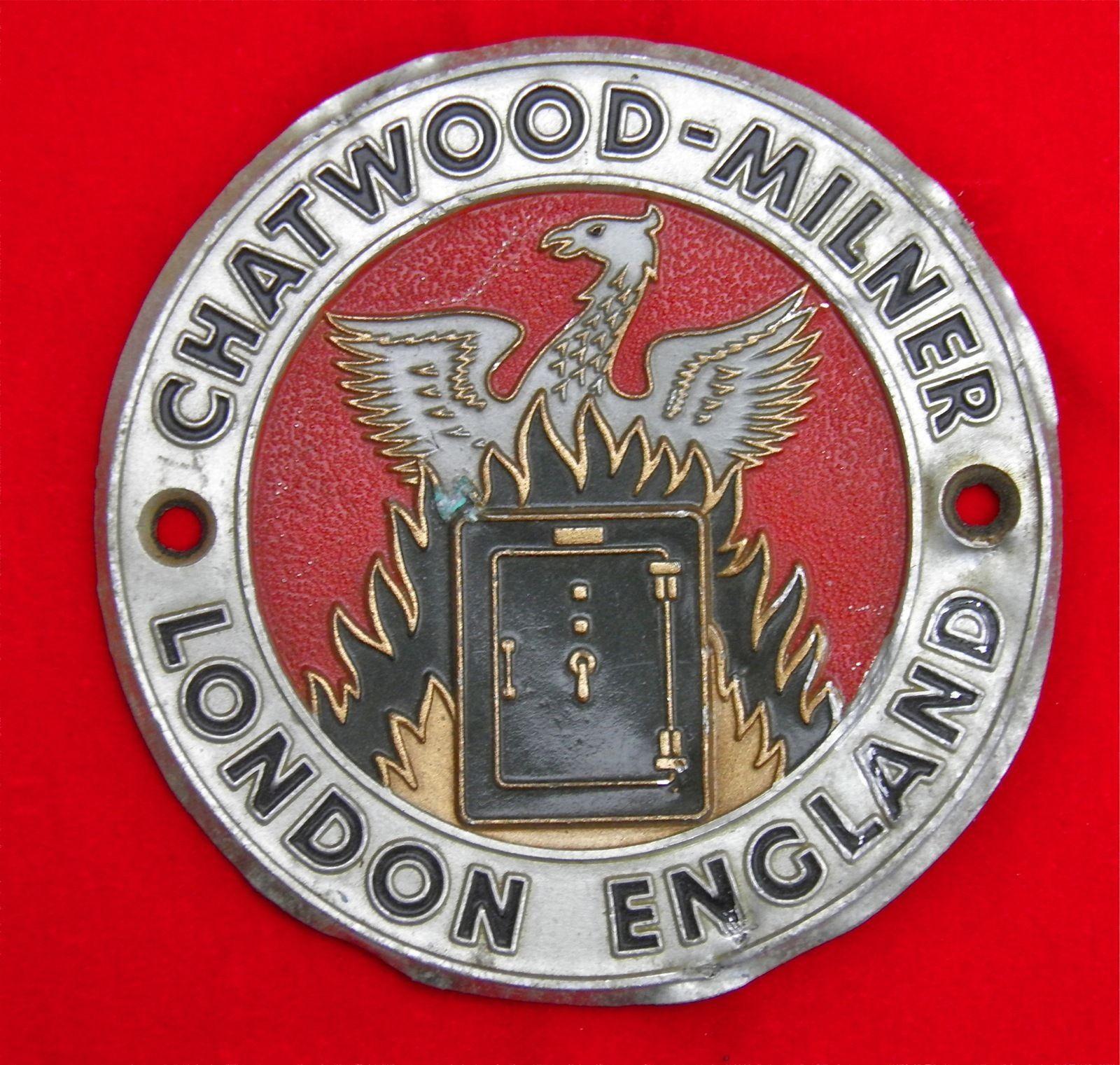 ORIGINAL VERY RARE VINTAGE CHATWOOD-MILNER LONDON SAFE PLATE