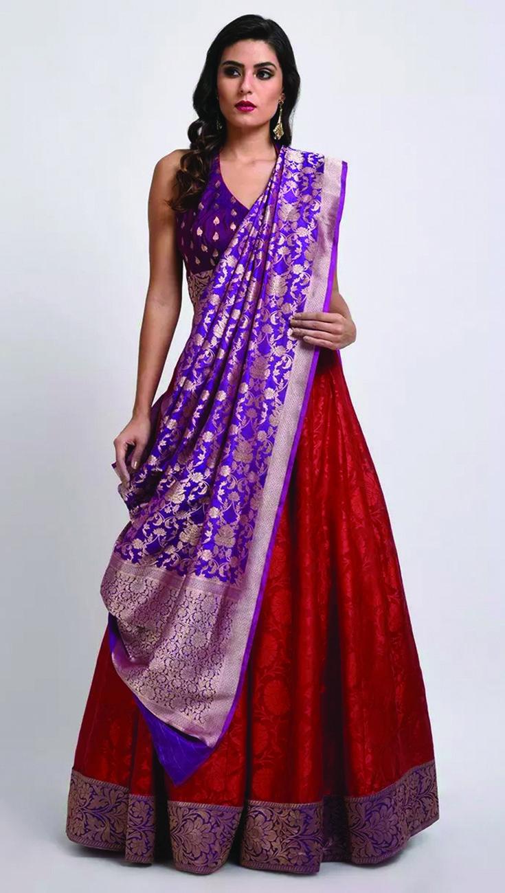 47c0cbbe98 Red-Purple Banarasi Zari Handwoven Lehenga Dress With Dupatta ...