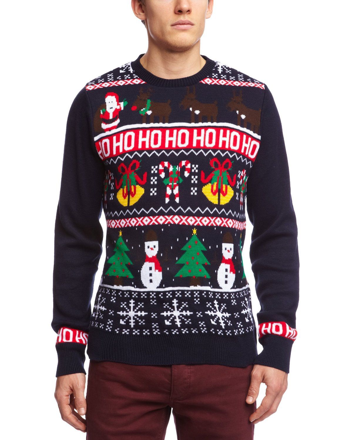 DSTRUCT Men's HoHoHo Christmas Jumper Navy XLarge