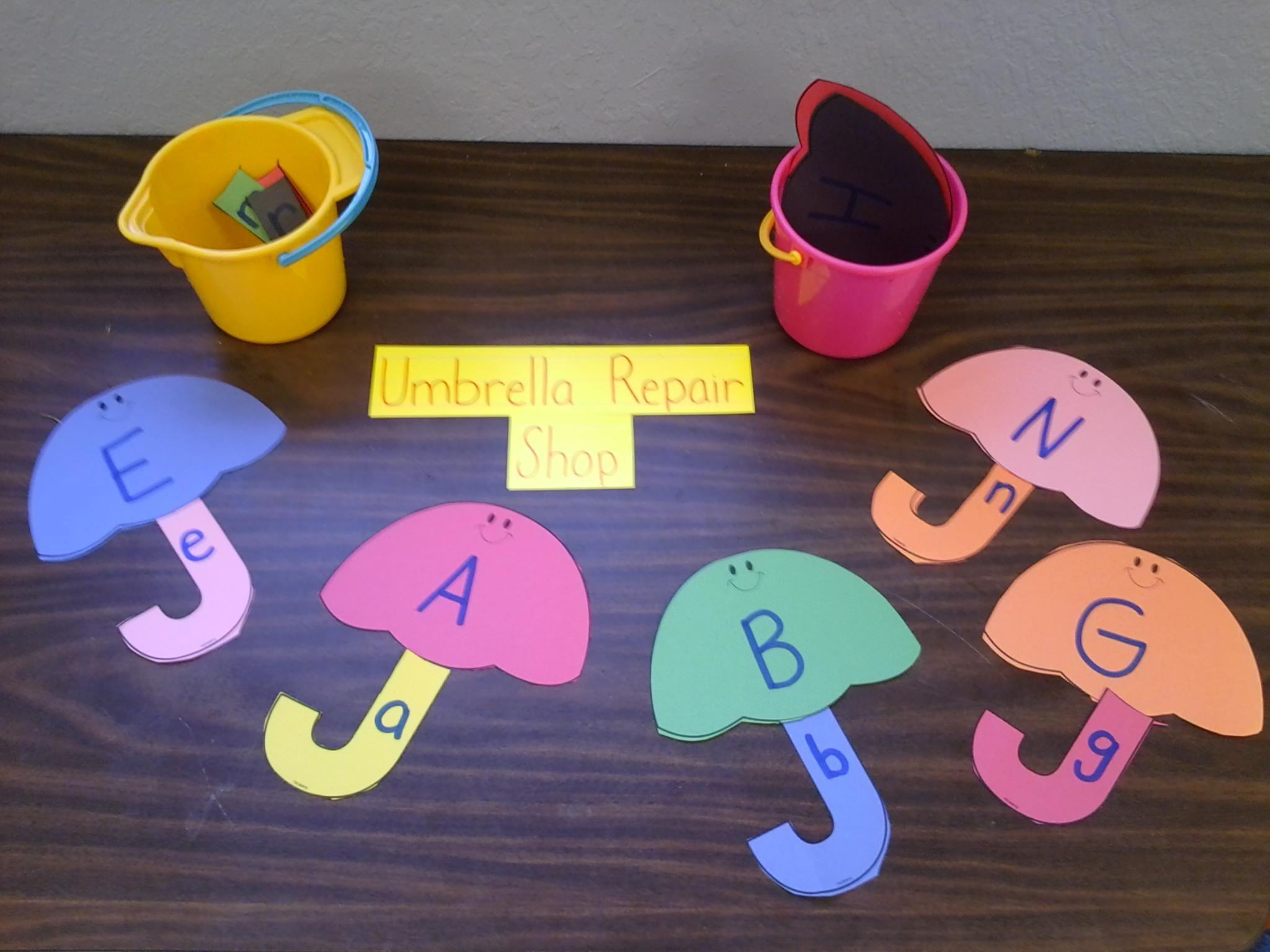 Umbrella Letter Match Preschool Literacy Center