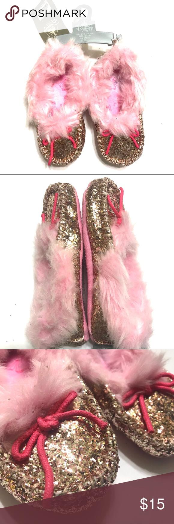 bdc4cf77d24 Disney princess slippers! Super adorable Disney princess slippers! Moccasin  style dipped in glitter!