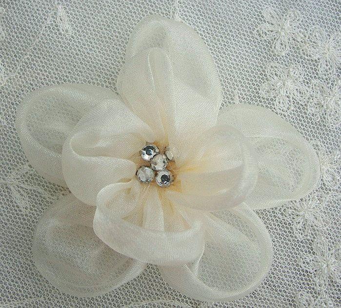 Fabric Beaded Flower Applique Rhinestone Cream Organza Rose Bridal Pageant Hat Corsage. $3.50, via Etsy.