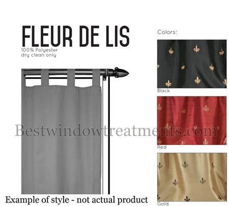 Custom Tab Top Fleur De Lis Curtain Panel In Red Gold Or Black Color D With Lining Options For Blackout Curtains Faux Silk Draperies