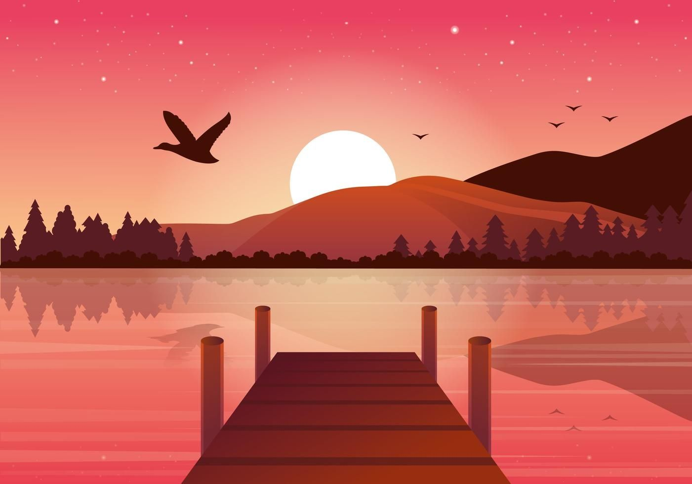 30+ Sunset Illustration Art JPG