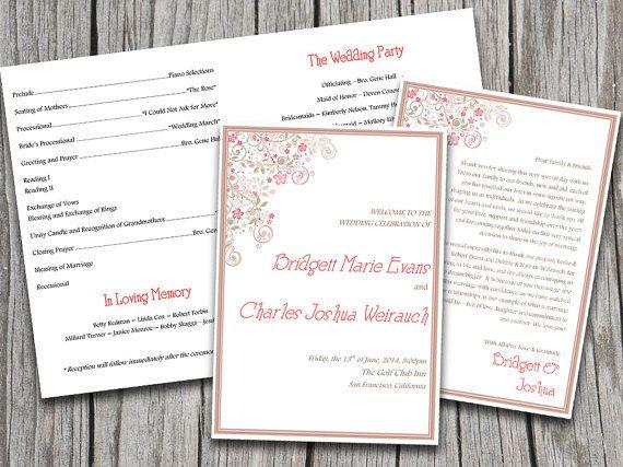 Half Fold Vintage Floral Flourish Wedding Program Template