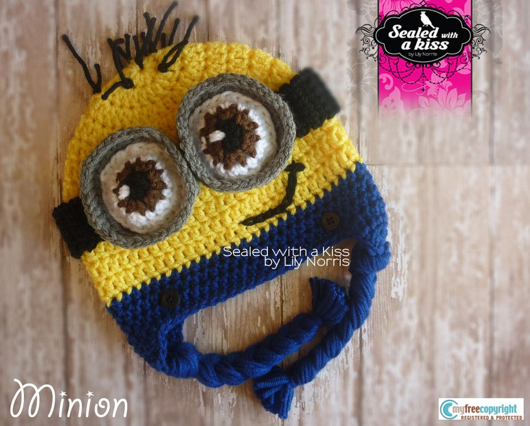 Yellow monster hat, Yellow goggled monster, crochet hat | Pink ...