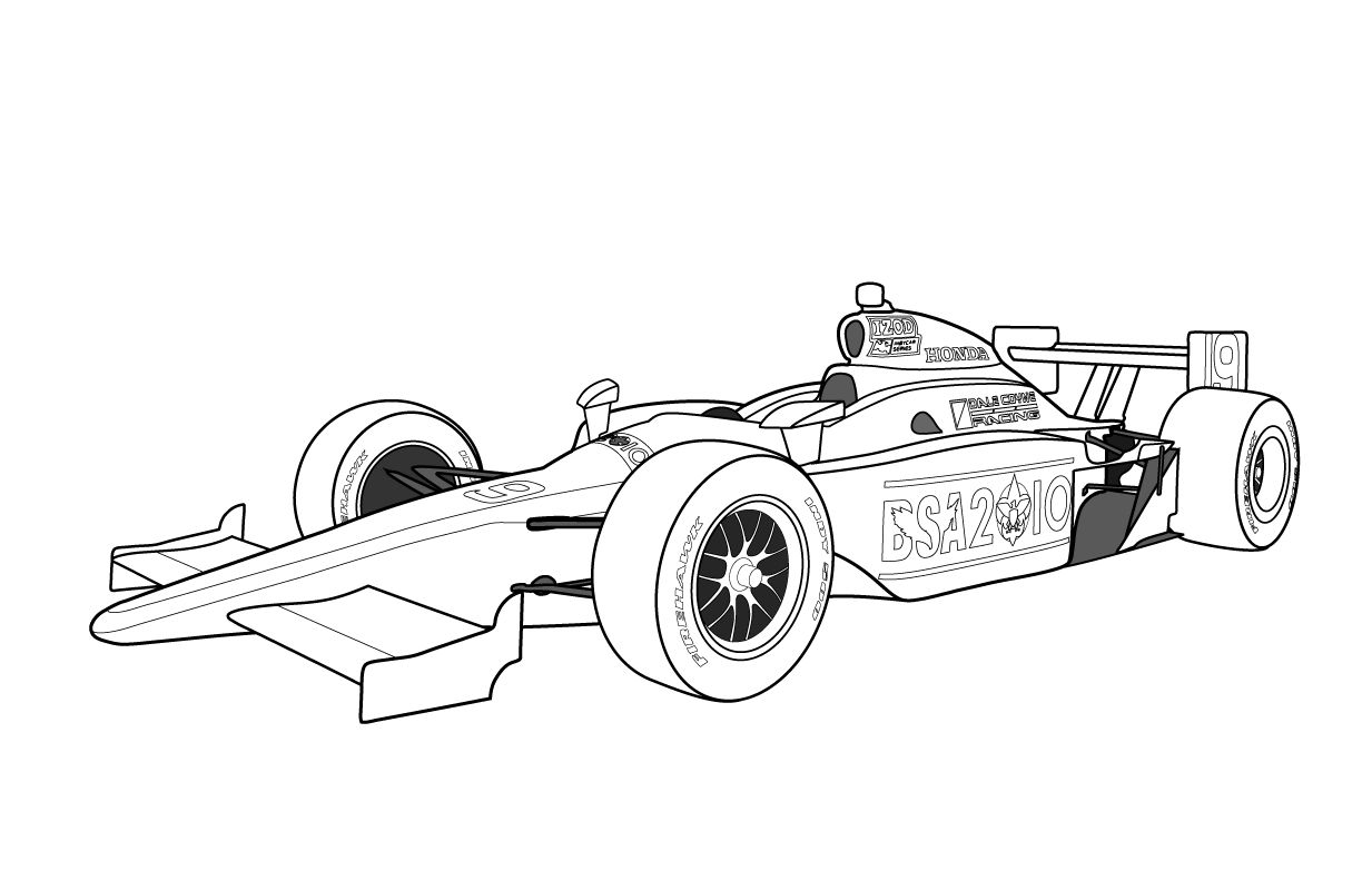 Racing Cars Coloring Pages Free Printable Race Car
