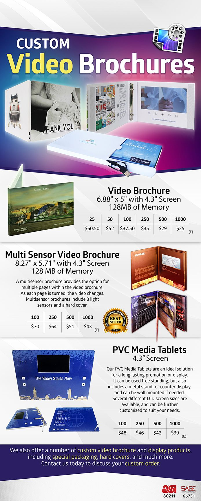 Custom Video Products From Video Brochure Line  Promotional