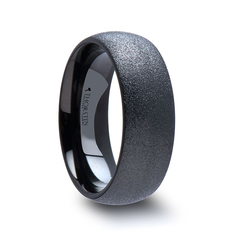 obsidian domed black tungsten carbide ring with