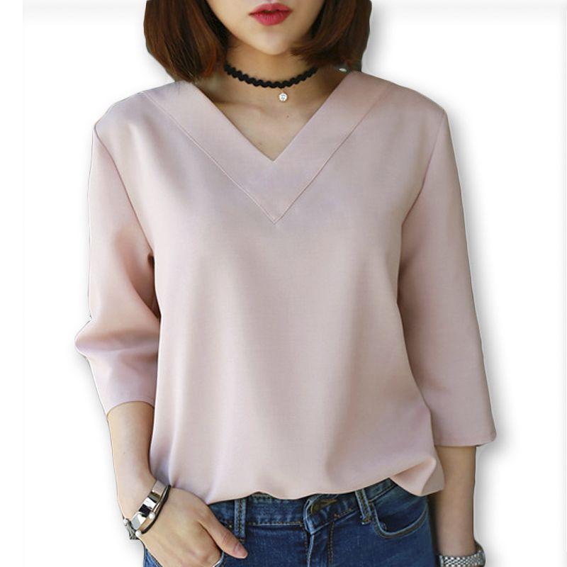 2016 여름 V 넥 쉬폰 블라우스 셔츠 여성 사무실 숙녀 최고 작업 셔츠 clothing 한국어 플러스 사이즈 s-xl 화이트 블루 핑크