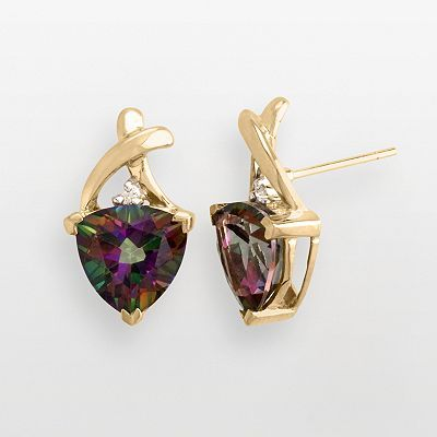 10k Gold Mystic Fire Topaz Earrings Bought These And The Matching Pendant For My Mama