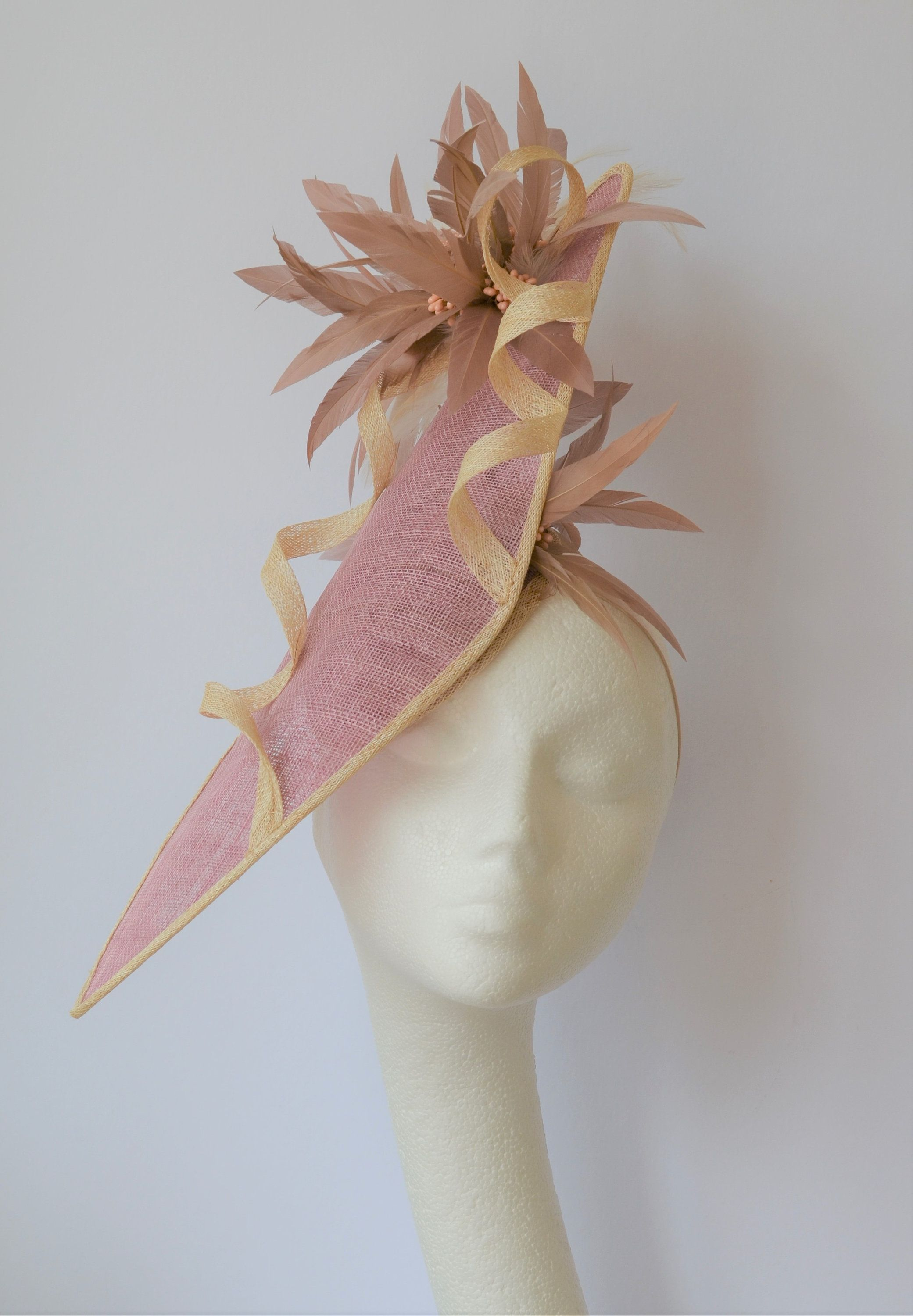 Pink Wedding hat. Pink Ascot hat. Dusky pink occasion hat. Pink hatinator. b1287ecbc6a
