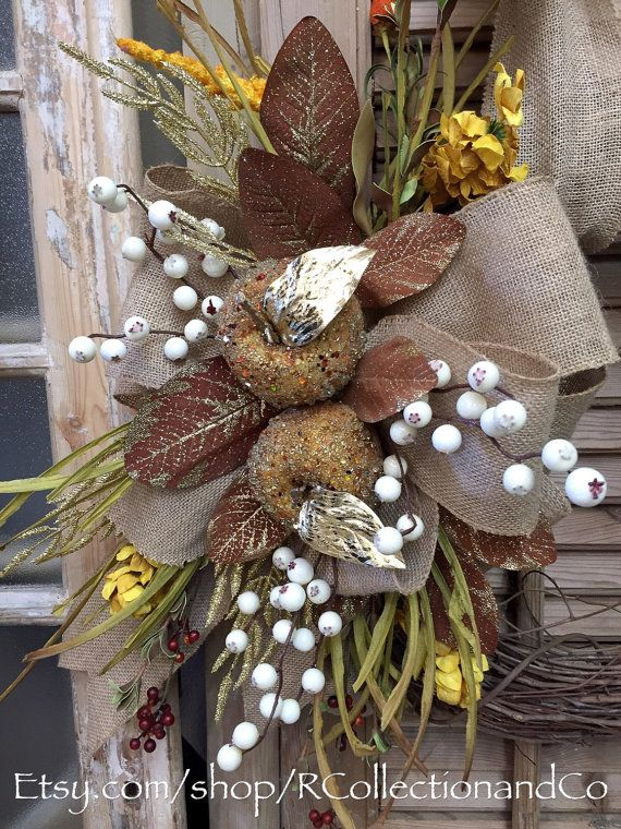 Fall Wreath Door Wreath Wreath Everyday Wreath by RcollectionandCo