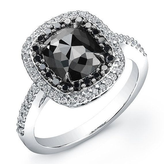 Charmant White Gold 2 Ct Cushion Black Diamond Ring ( I Really Like The Look Of A