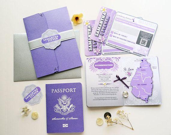 The Sabrina Passport And Boarding Pass Destination Wedding Invitation