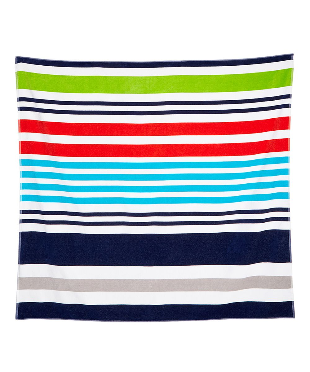 Blue & Red Stripe 425-GSM Large Beach Towel
