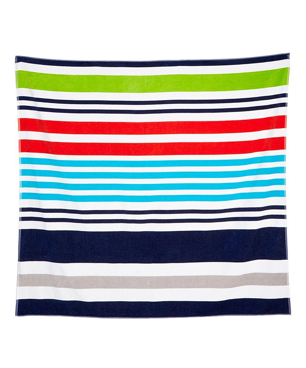 Blue & Red Stripe 425-GSM Large Beach Towel