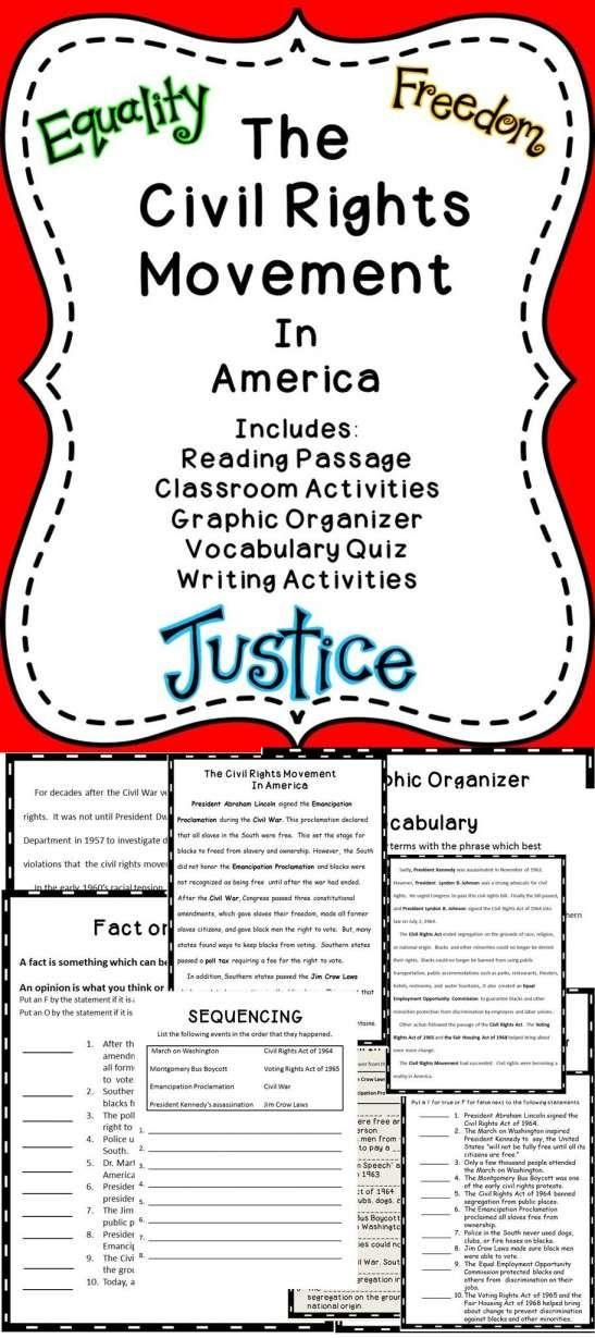 10+ Civil Rights Movement Worksheets 5Th Grade   Grade ...