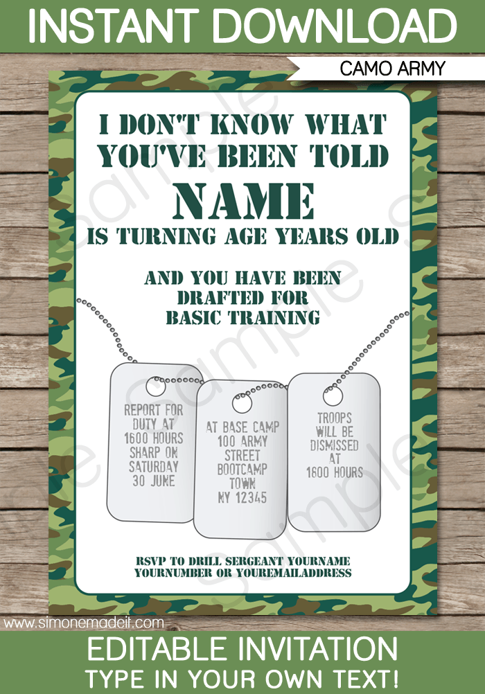 Army Party Invitation Template Green Camo
