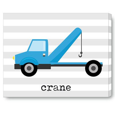 "Jolie Prints Kids Crane Truck Grey on Wrapped Canvas Art Size: 11"" H x 14"" W x 0.5"" D"