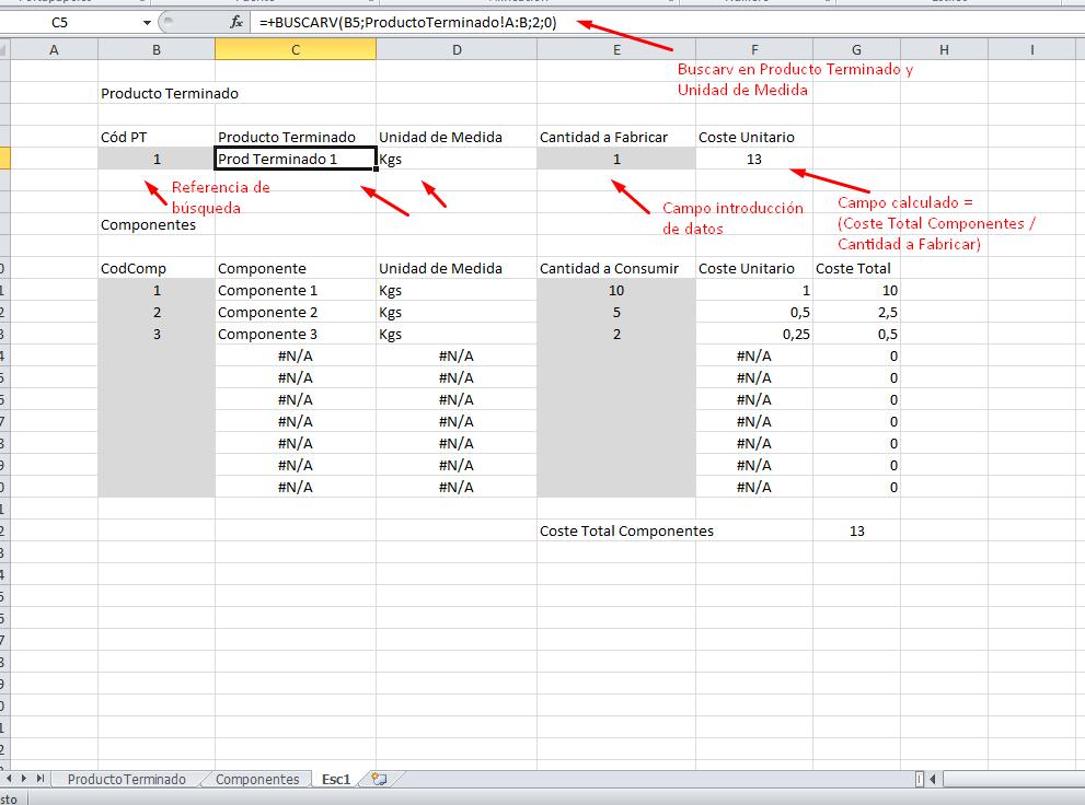 plantilla escandallo excel | Plantillas Excel | Pinterest