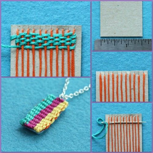 Miniature Weaving. So cute. From Guest Blogger Ellen Luckett Baker from The Long Thread. Tutorial. #diy #crafts #weaving #jewelry #miniature #necklace #pendant