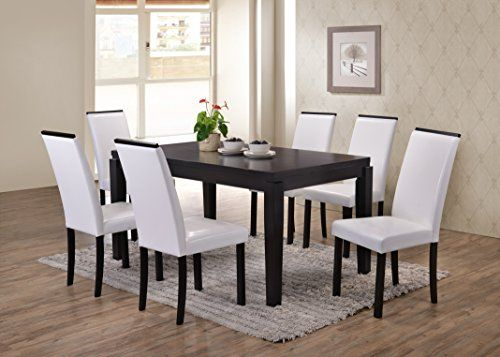 Kings Brand Black Finish Wood Dining Dinette Kitchen Table 6 White