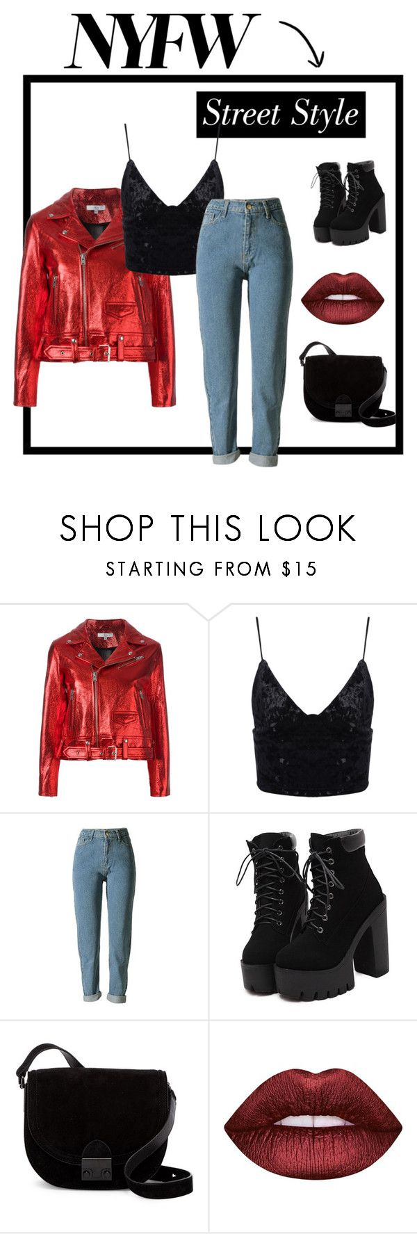 """""""NYFW Street Style"""" by audreyhortt ❤ liked on Polyvore featuring IRO, Loeffler Randall, Lime Crime, StreetStyle, NYFW, challenge and nyfwstreetstyle"""