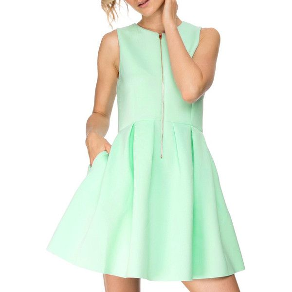 SheIn(sheinside) Green Aqua Sleeveless Zipper Flare Dress ($17) ❤ liked on Polyvore featuring dresses, turquoise, night out dresses, short party dresses, green party dress, flare sleeve dress and green dress