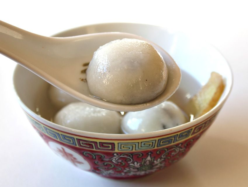 Chinese New Year: Tang Yuan, made of glutinous rice with various fillings.  This page has the history as well as the recipe and hints.  Awesome!