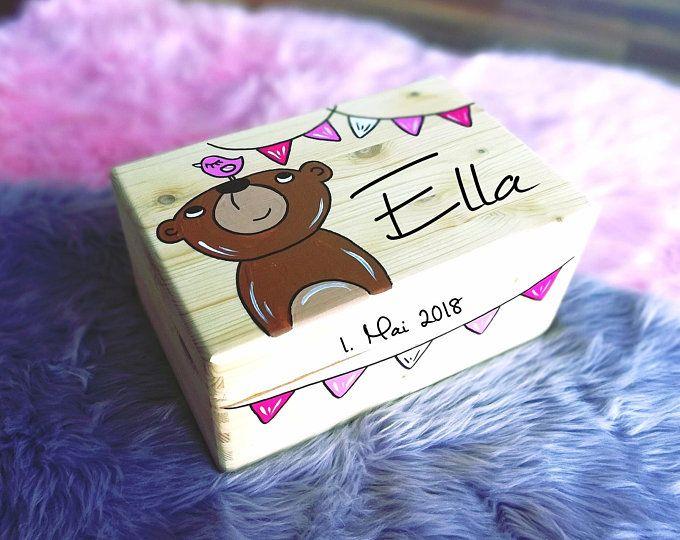 Erinnerungskiste Baby, Erinnerungsbox, Spielzeugkiste, Spielebox, Holzkiste mit Namen, individuell, personalisierbar, Taufgeschenk SALE