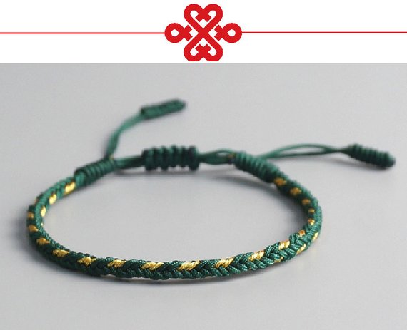 ce5c3d89e6 Original Tibetan Buddhist Tibetan Lucky Knot Bracelets Handmade Size  Adjustable (Loyalty) Green Mix