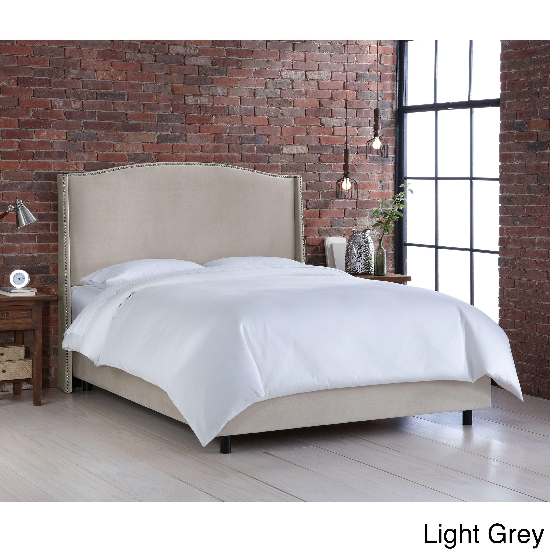 Nail On Velvet Upholstered Wingback Bed Skyline Furniture Full
