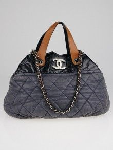 香奈儿绗缝灰色彩虹色小牛皮内式混合大手提包 Used Chanel Bags