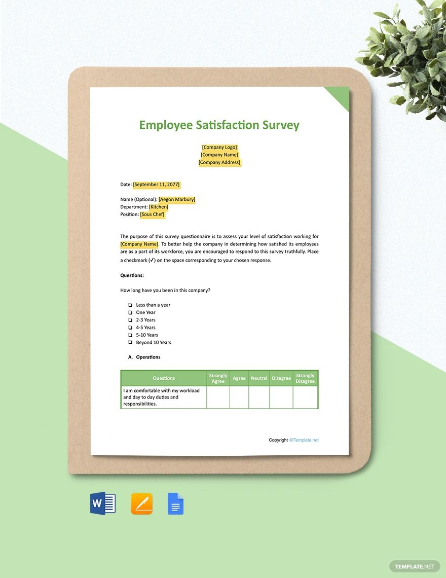 Free Sample Employee Satisfaction Survey Template Word Doc Apple Mac Pages Google Docs L Pdf Employee Satisfaction Survey Survey Template Employee Satisfaction