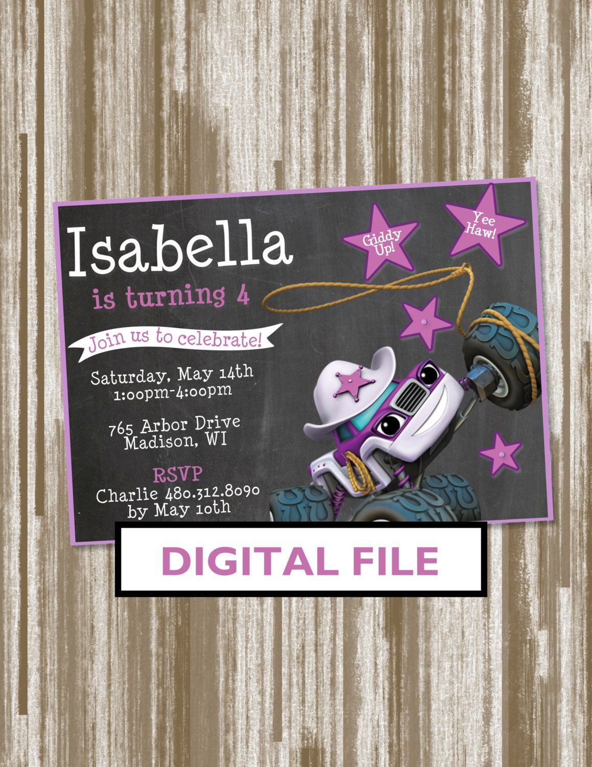 Starla From Blaze And The Monster Machines Birthday Party Invitation Personalized Digital File By CreativeCucina On Etsy