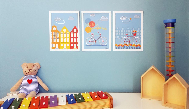 Deco Chambre De Bebe Enfant Tableau Sur Mesure Amsterdam A Velo